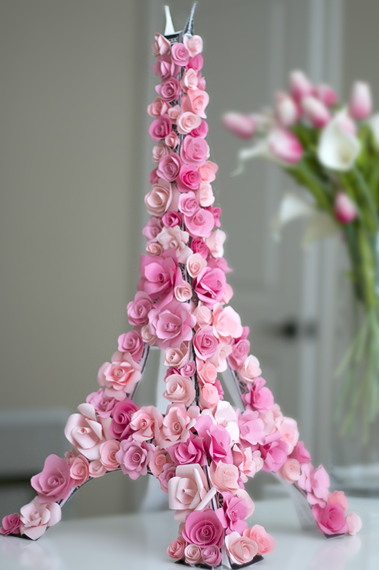 diy Eiffel Tower with roses home decor